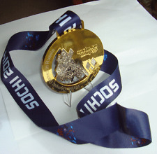 2014 Sochi  Olympic 'Gold' Medal + Silk Ribbons + Display Stand !!!