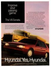 1991 HYUNDAI Sonata V6 Vintage Original Print AD - Red 4-door car photo speed US