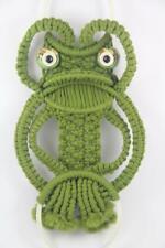 Vintage Mid Century Avocado Green Macrame Frog Towel & Soap Holder Wall Hanging