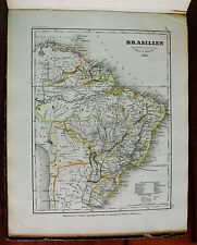 1849 MEYER'S ZEITUNGS-ATLAS=GEOGRAPHICAL MAP:BRASILIEN - BRASILE,BOLIVIA, PERU'