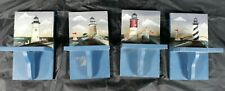 Vintage Set Of 4 Nautical Decor Lighthouse Wooden Wall Shelves