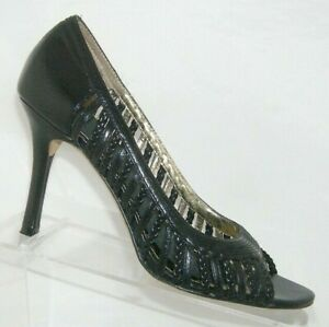 Charles by Charles David black leather peep toe cage strappy pump heels 8M