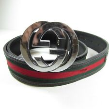 "Gucci Monogram Buckle Belt Green Red Black Leather 44"""