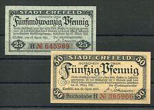 Crefeld 25 + 50 Pfennig Verkehrsausgabe Serie kompl..