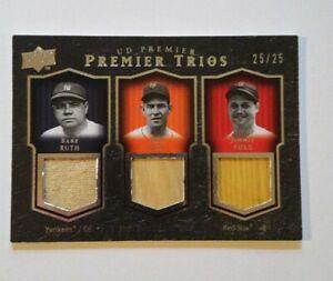 2008 UD Premier Babe Ruth Ott Jimmie Fox Jersey Dual Bat 25 Mint !