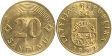 Fehlprägung Lettland 20 Santimu auf 10 Pfennig-Rohling BRD Latvija Ла́тви F38392