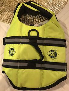 Paws Aboard Dog Lifejacket/Vest. Neon Yellow Nylon. Size XS. EUC