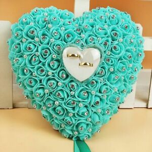 Ring Pillow Flower Heart Shape with Rhinestone for Wedding Ceremony Decoration