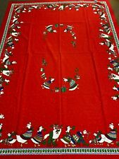 1970's Christmas Tablecloth-62x82-Red w/Geese in Christmas Sweaters-Vg-Cute-Sale