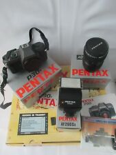 Pentax P30n 35mm SLR Film Camera with 28-80mm lens kit and flash - boxed