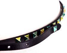$34 Unbranded Women's Black Metallic Green Studded Spike Belt Skinny L