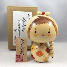 "Japanese KOKESHI Wooden Doll 5.5""H Cute Girl Braid Hair Floral Made in Japan"