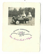 1953 ADORABLE Christmas Card Little Boys In Old Pedal Car Station Wagon