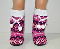 "Fits Our Generation American Girl 18"" Dolls Clothes Shoes Pom Pom Winter Boots"