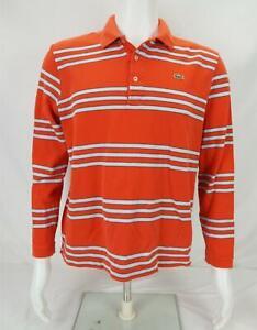 Lacoste Long Sleeve Polo Shirt Striped Orange/White Men's Size 5