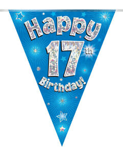 17th BIRTHDAY BANNER BLUE FLAG HOLOGRAPHIC PARTY BUNTING 11 FLAGS 3.9MTRS/12.8ft