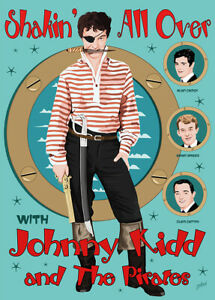 Johnny Kidd - Fifties style poster - (signed) Art Print - Jarod Art