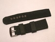 Nylon Fabric Military Strap - 20MM - Green - Fits Seiko Army Style Watches #253