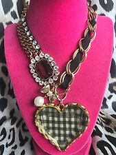 Betsey Johnson Vintage HUGE White & Black Checkered Chunky Lucite Heart Necklace