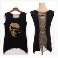 Gothic Punk Women Black Skull Print T-shirts Girls Backless Tassels Tank Tops