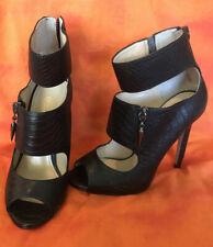 Enzo Angiolini Peep Toe Ankle Strap Classic Pump Heels Black, Size 4 1/2 M Women