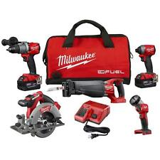 Milwaukee Combo 5 Tool Kit M18 FUEL 18-V Lithium-Ion Brushless Cordless 5.0 Ah