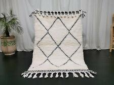 Beni Ourain Handmade Moroccan Wool Rug 3'4x4'9 Berber Geometric White Black Rug