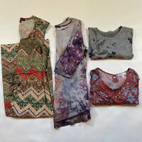 Lot Of FOUR size 1X Bright, Colorful, Boho Print Items - 3 Tops, 1 Maxi Dress