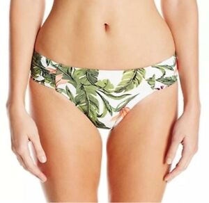 SEAFOLLY Ruched Retro Jungle Bottoms Size 8 In White Multi RRP £39