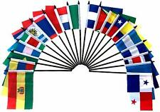 """Central and South America World Desk Flag SET-20 Polyester 4""""x6"""" Flags"""