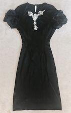 PRADA Black Jewel/ Crystal Embellished Cap Ruched Sleeve Dress 40 - Sold Out!!