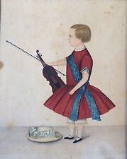 IMPORTANT: Original American WC Portrait of Boy w Violin by Justus DaLee, c 1830