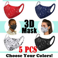 5pcs Face Mask Adult Washable Breathable Reusable Mouth Protection Cover Unisex