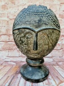 VINTAGE FREE STANDING CERAMIC TERRACOTTA  ABSTRACT BUST SCULPTURE