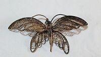 Gilt metal filigree butterfly design vintage Victorian antique large brooch
