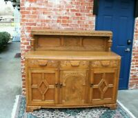 English Antique Tiger Oak Art Deco Sideboard / Buffet / Bar Cabinet