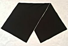 SCARF VINTAGE AUTHENTIC SOLID BLACK HAND ROLLED SILK LONG MEN'S