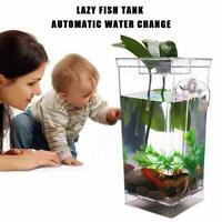 Kids Fish Tank Self Cleaning Small Desktop Mini Goldfish Clean Tank Easy H8S4