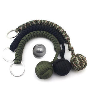 Outdoor Monkey Fist Paracord Keychain Keyring Military Steel Ball Survival #HD3`