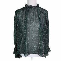 ZARA Black Green Print Ruffle Neck Flare Sleeve Semi Sheer Top Blouse Womens M