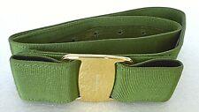 "Authentic Italy Ferragamo Gold Mono Woman Green Bow Grosgrain Belt, 24-28"" Waist"