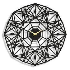 40cm Large High Gloss Black Hanging Round Wall Clock Vintage Fretwork Design