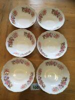 """Vintage Colclough Bone China """"Wayside""""  Honeysuckle Set of 6 Cereal Bowls"""