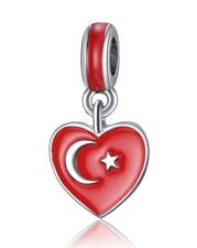 Turkey Turkish Flag Love Heart Dangling Pendant Charm For Bracelets Silver Plate
