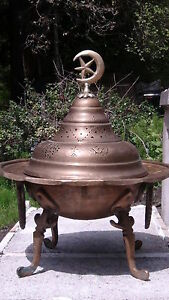 ANTIQUE 1780-1820 ISLAMIC  BRONZE BRASS BRAZIER FROM ESTATE COLLECTION
