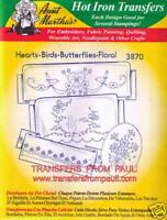 Hearts Birds Butterflies Floral Aunt Martha's Hot Iron Embroidery Transfer #3870