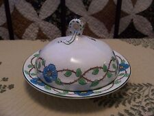 grindley 3 pc round covered butter dish set  the victory turquoise blue flowers