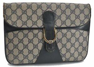 Authentic GUCCI Clutch Bag GG PVC Leather Navy Blue E2889