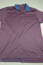 Peter Millar Polo Shirt Mens Size XL striped red blue golf performance comfort