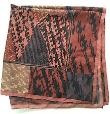 Liberty of London 34in Silk Scarf Hand Rolled Geometric Brown Triangles Abstract